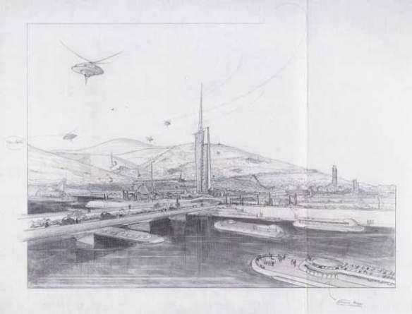 Μοντέρνος ολιστικός σχεδιασμός. Αρχιτεκτονική και πόλη γίνονται ένα. Frank L. Wright, The Living City