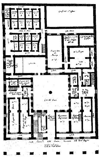 I. Κάτοψη ισογείου των νέων φυλακών   της Βενετίας του 1574. Πάνω αριστερά στην εικόνα διακρίνονται δύο ομάδες από κελιά απομόνωσης περικλειόμενα από τοίχο.