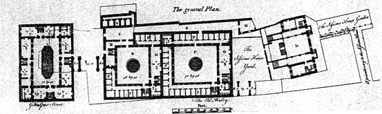 II. Κάτοψη ισογείου της παλιάς λονδρέζικης φυλακής του Newgate. Η κάτοψη αυτή προέρχεται από τα σχέδια ανακατασκευής της φυλακής του George Dance του πρεσβύτερου το 1755. Διακρίνονται πέντε κελιά απομόνωσης στο πάνω μέρος της εικόνας.