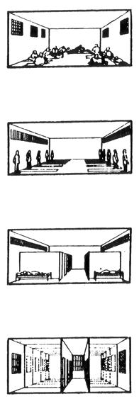 III. Σχηματική απεικόνιση της εξέλιξης της αρχιτεκτονικής των φυλακών από τους μεγάλους κοινόχρηστους χώρους στα ατομικά κελιά. Αξίζει εδώ να αναφερθεί η άποψη του Μισέλ Φουκώ: «ο πειθαρχικός χώρος τείνει να διαιρείται σε τόσα τεμάχια, όσα είναι και τα σώματα ή τα στοιχεία που πρέπει να κατανεμηθούν».