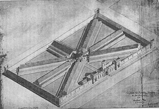 VIII. Η φυλακή Cherry Hill στη Φιλαδέλφεια της Πενσυλβανίας, έργο του John de Haviland, 1829. Το πρωτότυπο σχέδιο περιελάμβανε 250 κελιά απομόνωσης, όλα στο ισόγειο. Η απόφαση να αυξηθεί ο αριθμός των κελιών σε 400 ανάγκασε τον Haviland να προσθέσει έναν όροφο. Ο Haviland εισήγαγε το ακτινωτό σχέδιο από την Αγγλία.