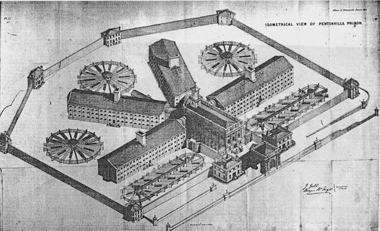 XI. Η Πρότυπη Φυλακή του Pentonville, έργο του μηχανικού Joshua Jebb, 1840-42.