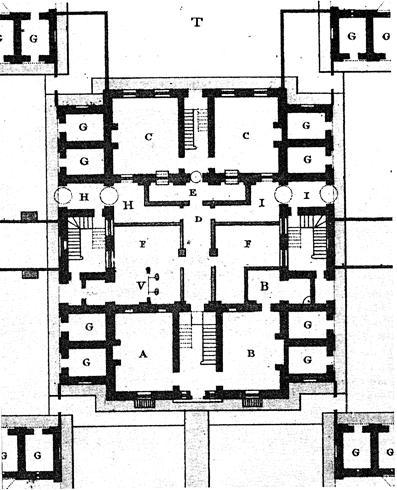 XVI. Κάτοψη ισογείου του κεντρικού υπόστεγου της Kομιτειακής Φυλακής Dorchester του αρχιτέκτονα William Blackburn, 1795.