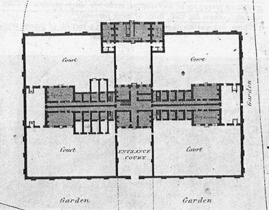 ΧΧII. Η μικρή Κομιτειακή Φυλακή του Winchester, 1787, κάτοψη ισογείου. Παρατηρούμε έξι κελιά απομόνωσης, τα οποία διαθέτουν ατομικό προαύλιο. Επίσης έχουν κτιστεί τοίχοι στη μέση των διαδρόμων των κελιών έτσι ώστε να ενισχύεται η αίσθηση της απομόνωσης.