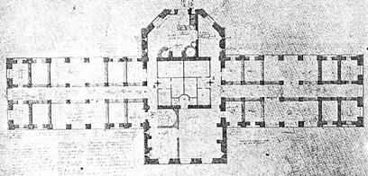 XXXV. Κάτοψη ισογείου της μικρής Φυλακής του Littledean του William Blackburn το 1785. Η είσοδος στο παρεκκλήσι ελέγχεται από δύο περιστρεφόμενες θύρες.