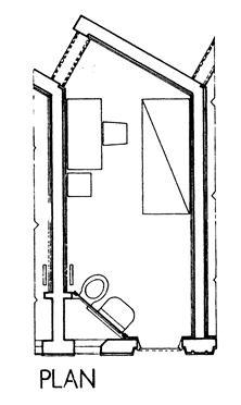 XLII. Κάτοψη κελιού της φυλακής Stammheim.