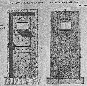 XLVI. Εξωτερική και εσωτερική όψη της πόρτας κελιού της Πρότυπης Φυλακής του Pentonville.