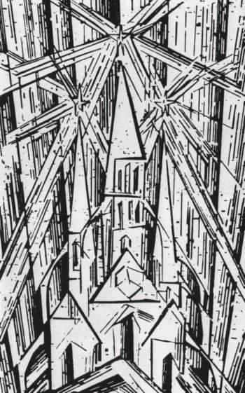 Lux Feininger, Καθεδρικός ναός, ξυλογραφία, 1919