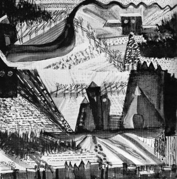 Gunta Stölzl, Βαϊμάρη, 1920, τοπίο με βάση τις αντιθέσεις υφών και μορφών