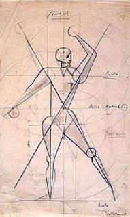 Oskar Schlemmer, γυμνό σκίτσο, 1922