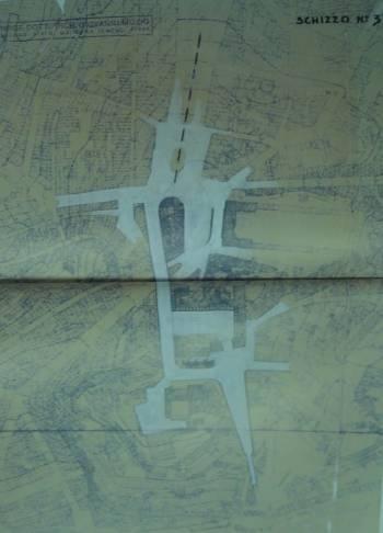 Λεπτομέρεια τοπογραφικού σχεδίου και πρόταση για αναδιαμόρφωση του κέντρου.