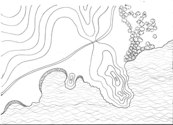 Διαγραμματική απεικόνιση (φανταστικής) περιοχής προς τουριστική - παραθεριστική ανάπτυξη. Με αυτή την αφετηρία θα δείξουμε παρακάτω σχηματικά τις διαφορετικές τυπολογίες ανάπτυξης των δύο υποδειγμάτων σχεδιασμού.