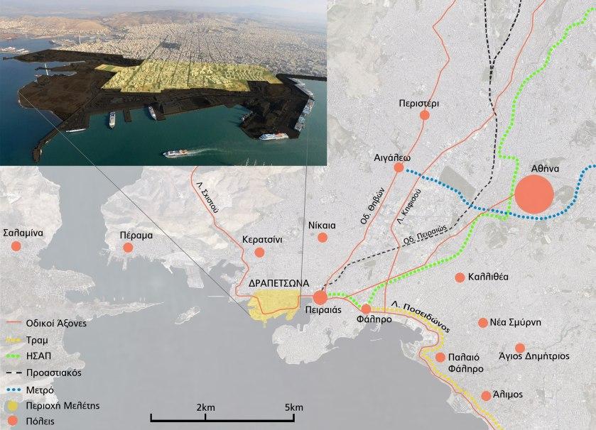 Εικόνα 1: Θέση της Δραπετσώνας - Αποκλεισμός από το παραλιακό μέτωπο