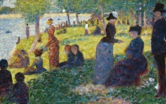 12. Georges Seurat, Plusieurs personnages assis; Petite esquisse, 1884, Art Institute of Chicago.
