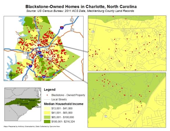 Εικόνα 2: Οι κατοικίες που ανήκουν στην Blackstone στην πόλη Charlotte της Βόρειας Καρολίνας. ΠΗΓΗ: TomDispatch.com
