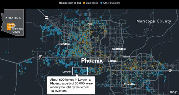 Εικόνα 5: Με πορτοκαλί οι ιδιοκτησίες της Blackstone και με γαλάζιο οι ιδιοκτησίες των ανταγωνιστών της στο Φοίνιξ της Αριζόνας. ΠΗΓΗ: Bloomberg