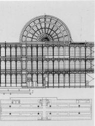 Τα σχέδια για το διάσημο Crystal Palace του Robet Paxton. Ένα επίτευμα της επανάστασης στην τεχνολογία των κατασκευών της βιομηχανικής εποχής. Χτίστηκε για να στεγάσει την έκθεση του 1851 στο Λονδίνο.