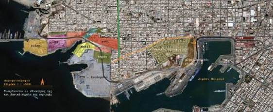 Η περιοχή ανάπλασης ως τμήμα των Δήμων Δραπετσώνας και Κερατσινίου και σε γειτνίαση με το λιμάνι του Πειραιά. Με χρώματα φαίνονται οι ιδιοκτησίες γης. Μπλε: πρότυπος κτηματική, κόκκινο: ΑΓΕΤ, κίτρινο: MOBIL (BP) και μοβ: BP, πορτοκαλί: ΕΥΔΑΠ (ελληνικό δημόσιο), πράσινο: δήμος.