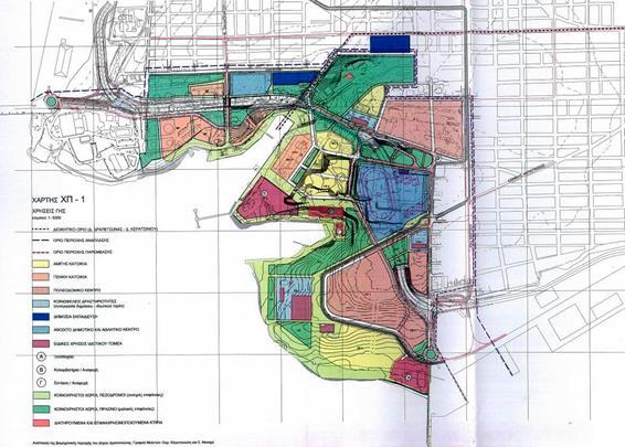 Χρήσεις γης. Κίτρινο: ΑΚ, Πορτοκαλί: ΓΚ, Κόκκινο-ροζ: πολεοδομικό κέντρο, Μπλε: εκπαίδευση, Ανοικτό μπλε: ΚΦ και αθλητικό κέντρο, Μοβ σκούρο: ειδικές χρήσεις ιδιωτικού τομέα, Πράσινο σκούρο: μαλακές επιφάνειες πρασίνου, Πράσινο Ανοικτό: ΚΧ-πεζόδρομοι-σκληρές επιφάνειες (πηγή: Δήμος Δραπετσώνας)