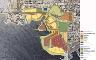 Χρήσεις γης στην «πρόταση Παπαγιάννη». Στο κέντρο της περιοχής των λιπασμάτων δεσπόζει το η χρήση ναυτιλιακού κέντρου. Κίτρινο: αμιγής κατοικία, μοβ: πολιτισμός, καφέ: εμπόριο, σκούρο πράσινο: αθλητισμός, μπλε: εκπαίδευση, γαλάζιο: τουρισμός-αναψυχή, ανοικτό πράσινο: κοινόχρηστοι πράσινοι χώροι, ροζ: διοίκηση, σκούρο ροζ: μικτές χρήσεις. (πηγή: γραφείο Παπαγιάννη)