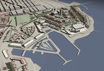 Τρισδιάστατη απεικόνιση της πρότασης Παπαγιάννη. Ξεχωρίζουν το «κέντρο υποβρύχιας φύσης και πολιτισμού», το επιχειρηματικό κέντρο, οι ζώνες αμιγούς κατοικίας και τα σιλό με την καμινάδα του παλιού εργοστασίου των λιπασμάτων (πηγή: γραφείο Παπαγιάννη)