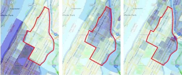 Εικόνα 4: Στοιχεία της απογραφής του 2010 για την πόλη της Νέας Υόρκης που δείχνουν τη συγκέντρωση, σε ποσοστά %, των διαφόρων εθνοτικών και φυλετικών ομάδων. Από αριστερά προς τα δεξιά: μόνο λευκοί, μόνο μαύροι, μόνο λατινοαμερικάνοι.