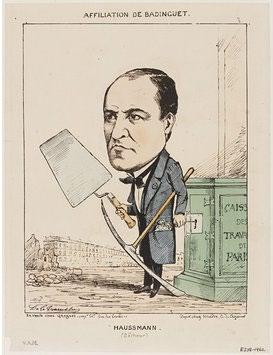 """Εικόνα 13: Γελοιογραφία της εποχής, που παρουσιάζει τον Haussmann να κλέβει τα Ταμεία Εργασιών του Παρισιού και τον ονομάζει """"χαλάστρα"""" σε αντίθεση με τον αυτοπροσδιορισμό του ως """"καλλιτέχνη κατεδαφιστή""""."""