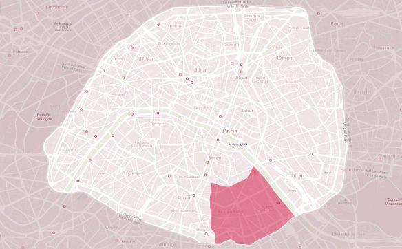 Εικόνα 14: Το 13ο Διαμέρισμα σε σχέση με το Παρίσι (1η Ζώνη - Κέντρο).