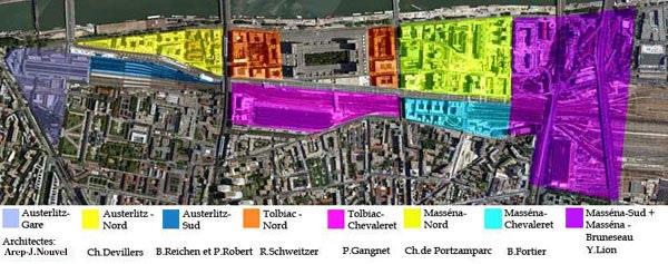 Εικόνα 17: Η περιοχή του σχεδίου Paris - Rive Gauche, χωρισμένη σε ζώνες, η κάθε μία από τις οποίες έχει ανατεθεί σε μία ομάδα με επικεφαλής έναν γνωστό αρχιτέκτονα.
