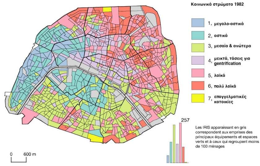 Εικόνα 26: Κατανομή κοινωνικών τάξεων στην 1η Ζώνη (κέντρο) του Παρισιού το 1982.