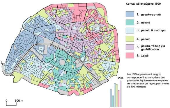 Εικόνα 27: Κατανομή κοινωνικών τάξεων στην 1η Ζώνη (κέντρο) του Παρισιού το 1999.