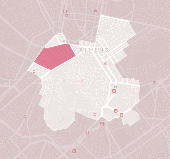 Εικόνα 30: Η περιοχή του Μεταξουργείου σε σχέση με το διευρυμένο ιστορικό κέντρο της Αθηνας.