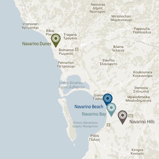 Εικόνα 9: η θέση της Γιάλοβας και της Πύλου, σε σχέση με τις εγκαταστάσεις της Costa Navarino (πηγή: www.costanavarino.com, ίδια επεξεργασία)